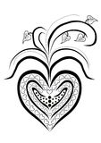 Heart. Black and white hearts filled with smaller hearts and decorative lines. It`s another interpretation of valentines Royalty Free Stock Photos