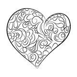 Heart in black and white.  Page for coloring book Royalty Free Stock Images