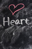Heart on blackboard Stock Photography