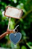 Heart Blackboard on vintage handlebars. Of bicycle Royalty Free Stock Photo