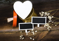Heart, Blackboards And Dried Flowers. Stock Image