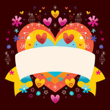 Heart with blank ribbon Stock Photography
