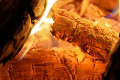 Heart of a blazing fire. In fire stock photography