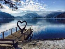 Heart, Bled Lake, Slovenia stock images