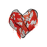 Heart bleeding Hand drawn sketched  illustration. Doodle graphic. With ornate pattern Stock Image