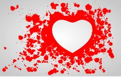 Heart in the blood. Spatters Stock Photos