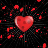 Heart and Blood. Illustration of heart and blood splashing, EPS vector available Royalty Free Stock Photography