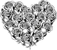 Heart of blooming roses. Heart of blooming rosse in vector Stock Photos