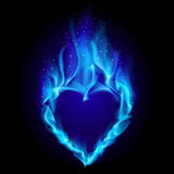 Heart in blue fire. Illustration on black background for design Stock Photography