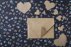 Heart blue floral background, envelope, love letter, valentine`s confession Stock Photo