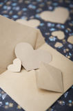 Heart blue floral background, envelope, love letter, valentine`s confession Royalty Free Stock Photo