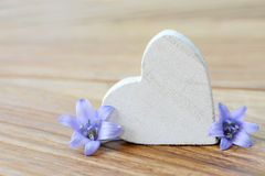 Heart and blue flower Royalty Free Stock Image