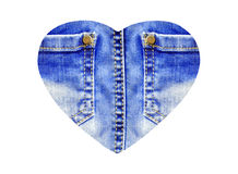 Heart from blue jeans closeup, isolated on white Royalty Free Stock Image