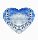 Heart from blue jeans, isolated on white Stock Photos