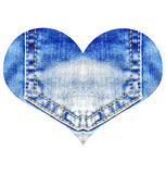 Heart from blue jeans, isolated on white Royalty Free Stock Image