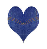 Heart from blue jeans, isolated on white Stock Photo