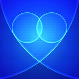 Heart in blue light. Over blue background. Vector illustration Royalty Free Stock Photo