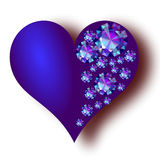 Heart. The blue  heart with sapphires Stock Photos