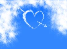 Heart on the blue sky stock illustration