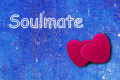 Heart on Blue Vintage Background with Text Royalty Free Stock Photography