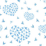 Heart with blue watercolor birds. Ditsy seamless background. Watercolour Royalty Free Stock Images