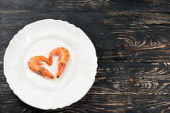 Heart of boiled shrimp Stock Photo
