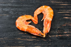 Heart of boiled shrimp Stock Images