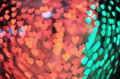 Heart bokeh background. Bokeh heart taken at night Stock Photos