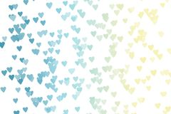 Heart Bokeh (blue, yellow) on White Background Royalty Free Stock Photography