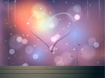 Heart and bokeh on mirror vector abstract background Stock Photography