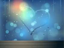 Heart and bokeh on mirror vector abstract background royalty free illustration