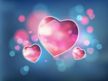 Heart and bokeh vector abstract background Stock Image