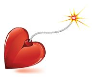 Heart bomb. Heart love bomb spark fire icon . Valentine day passion illustration Stock Images