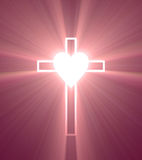 Cross blank heart shining light flare Royalty Free Stock Image