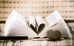 Heart book shaped. On ground Royalty Free Stock Image