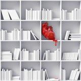 Heart on the bookshelves. Anatomical  heart on the bookshelves (3D concept Stock Photos