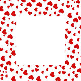 Heart border. Red love heart border with square space in the centre Royalty Free Stock Photos
