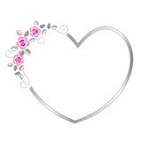 Heart border. Silver heart valentines day border / frame with beautiful pink roses Royalty Free Stock Photography