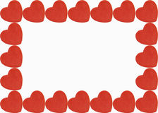 Heart border. Red heart boarder on isolated white background Royalty Free Stock Photo