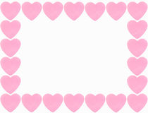Heart border. Pink heart border isolated on white background Stock Photos