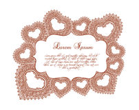 Heart border - lace eastern frame for Valentine day. Vector Stock Images