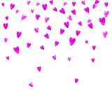 Valentine background with pink glitter hearts. February 14th day. Vector confetti for valentine background template. Heart border for Valentines day with pink Royalty Free Stock Photography