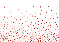 Valentine background with pink glitter hearts. February 14th day. Vector confetti for valentine background template. Heart border for Valentines day with red Stock Photography