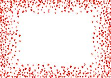 Valentine background with pink glitter hearts. February 14th day. Vector confetti for valentine background template. Heart border for Valentines day with red Royalty Free Stock Photos