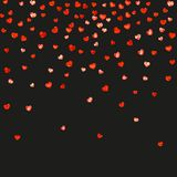 Valentine background with pink glitter hearts. February 14th day. Vector confetti for valentine background template. Heart border for Valentines day with red Stock Image
