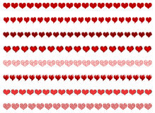 Heart borders. Vector different heart borders on a white background Stock Image