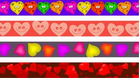 Heart borders. Set of four colourful heart page border designs Royalty Free Stock Photography