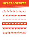 Heart Borders. Various heart borders with red, pink, and orange colors Royalty Free Stock Photography