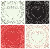 Heart borders. Vector set of frames with floral elements and  heart  at retro style Royalty Free Stock Image