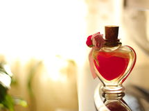 Heart bottle. Heart shape bottle with a nice background Royalty Free Stock Photos